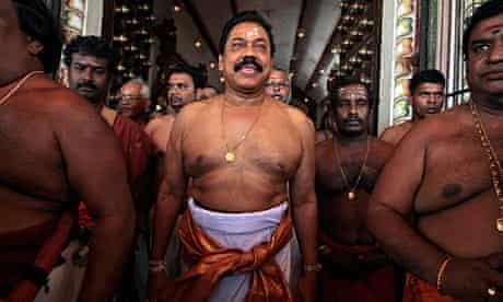Sri Lanka president Mahinda Rajapaksa visits a Hindu temple in Jaffna, earlier this year.