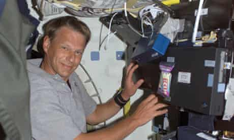 Piers Sellers aboard the space station in 2002