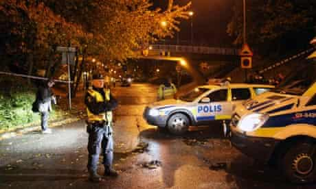 Police at the scene of a shooting in Malmö, Sweden