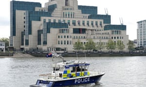 Police boat on patrol near the MI6 headquarters in London
