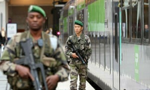 Soldiers patrol the Gare du Nord in Paris