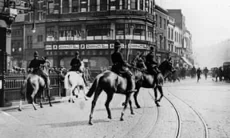 Mounted policemen quell a riot in the 1926 General Strike