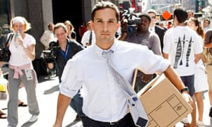 A man walks out of the Lehman Brothers, 2008