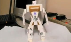 A cigarette packet is transformed into a robot on YouTube