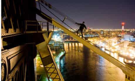 Climbing the Queensboro Bridge in New York
