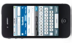 Apple iPhone 4 smartphone with Facebook website