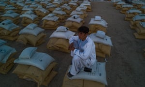 Sacks of wheat in an aid centre