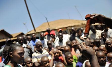 Residents of Africa's largest slum watch