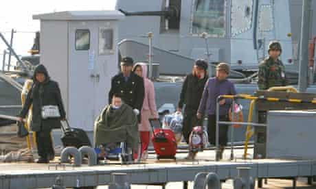 Injured South Koreans evacuated