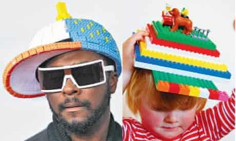 Will.i.am and Jacob Hickman with Lego hats