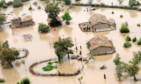 A flood-affected area on the outskirts of Sukkur, Pakistan, in August 2010