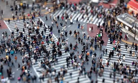 Pedestrians at the Shibuya intersection