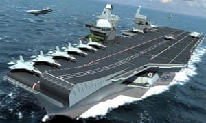 A computer image of one of the navy's new aircraft carriers