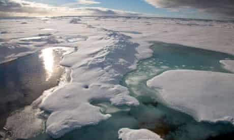 Melting ice in the Arctic.