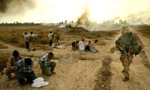 Royal Marines arresting Iraqi soldiers