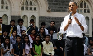 President Barack Obama meets student at St Xavier College in Mumbai