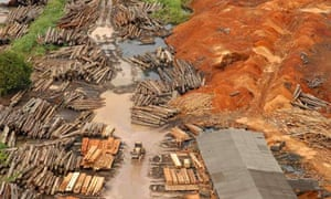 An aerial view of a sawmill that processes logs from the Amazon rainforest in Tailandia