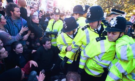 Students and police at tuition fees protest