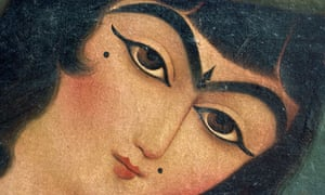 A 'unibrow' seen in a Qajar painting from Iran