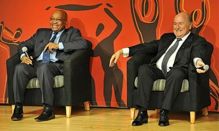 Jacob Zuma and Fifa president Sepp Blatter at a media briefing in Soccer City, Soweto.