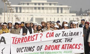 Pakistani ribesmen from Waziristan protest against US drone attacks, outside parliament in Islamabad