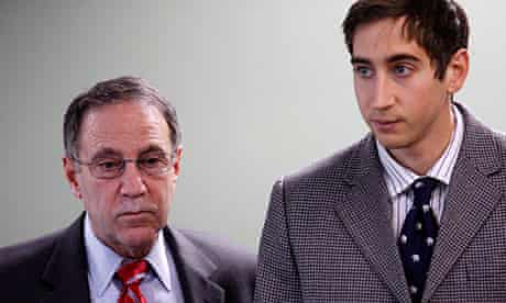 Adam Wheeler (r) with his lawyer Steven Susman at court in Woburn, Massachusetts.