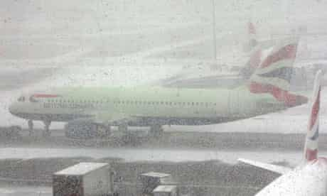 Snow showers as planes are grounded at Heathrow airport