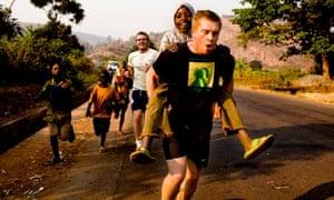 Chris Jackson running through Congo