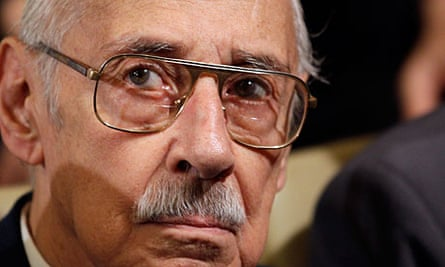 Former Argentina dictator Jorge Videla attends the last day of his trial in Cordoba.