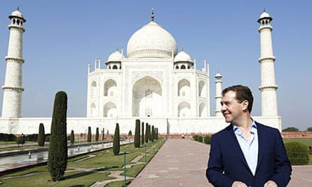 Dmitry Medvedev visits the Taj Mahal, during his state visit to India.