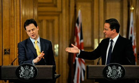 David Cameron with Nick Clegg, who is irritated with carping about coalition by some Lib Dems