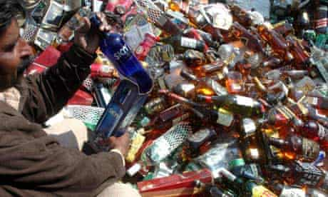 Confiscated alcohol in Karachi