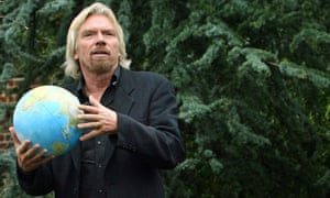 Sir Richard Branson promoting a reduction in greenhouse gases