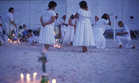 New Year celebrations at Urca beach in Rio de Janeiro, Brazil