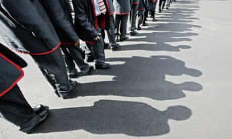 school pupils line up