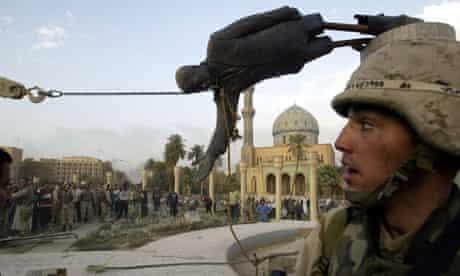 A statue of Saddam Hussein is pulled down in Baghdad