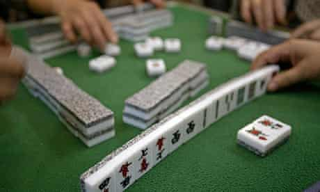 A game of mahjong being played in Shanghai.