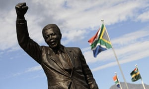 A bronze statue depicting Nelson Mandela outside the Groot Drakenstein prison in Paarl