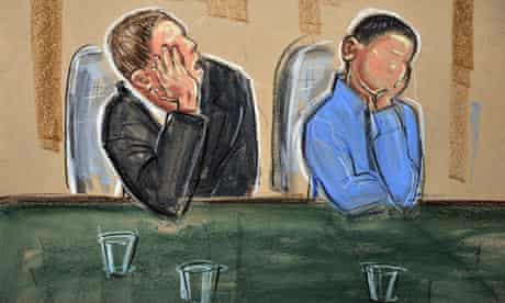 A court sketch of the two brothers convicted of the attacks