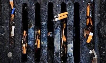 Cigarettes down the drain
