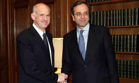 George Papandreou (left) and Antonis Samaras