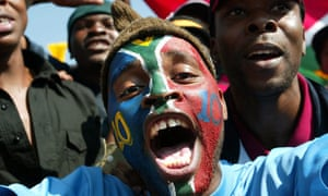 South African football fans in Johannesburg
