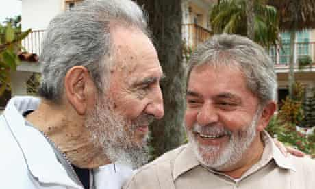 Brazilian President Luiz Inacio Lula da Silva with Cuban leader Fidel Castro in Havana