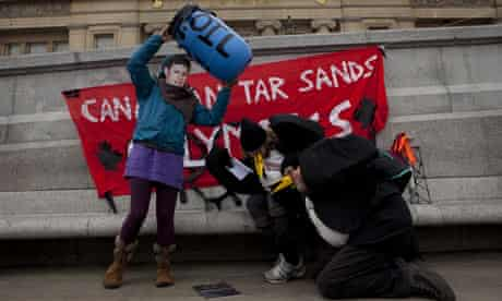 Tar sands protesters, Canada House, London