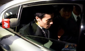 Robert Park in a car with his mother and father after landing at Los Angeles international airport.