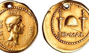 Roman coin celebrating the murder of Julius Caesar
