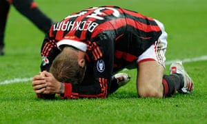 David Beckham after suffering his injury