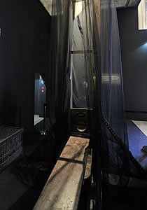 A guillotine is displayed during the Crime and Punishment exhibition, in Paris.