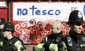 Police at a Tesco's proposed new Bristol store, March 2010