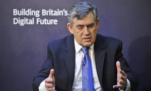 Gordon Brown during his speech about the future of digital Britain